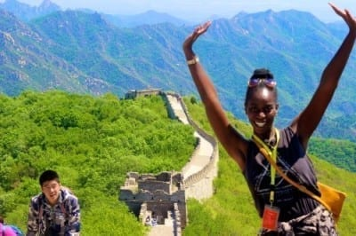 Juanita posing along the Great Wall of China