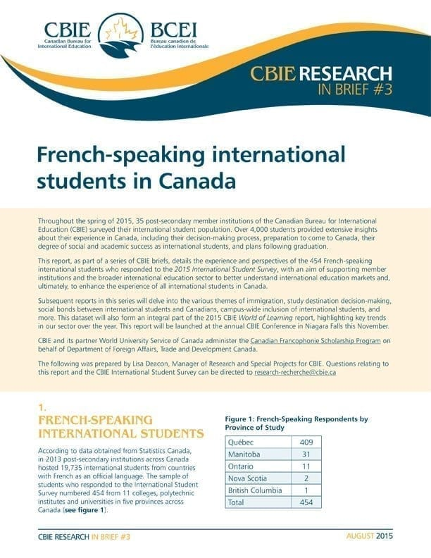 French-Speaking International Students in Canada