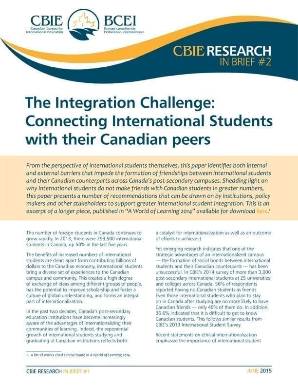 The Integration Challenge: Connecting International Students with their Canadian Peers