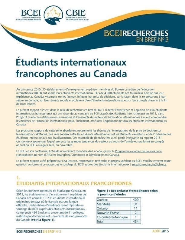 Étudiants internationaux francophones au Canada