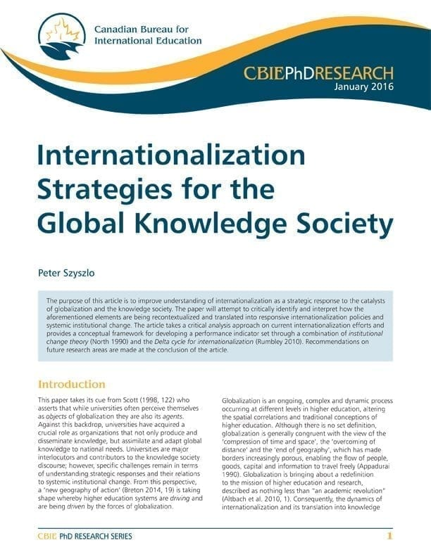 Internationalization Strategies for the Global Knowledge Society