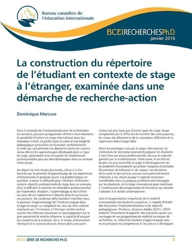 La construction du répertoire de l'étudiant en contexte de stage à l'étranger, examinée dans une démarche de recherche-action