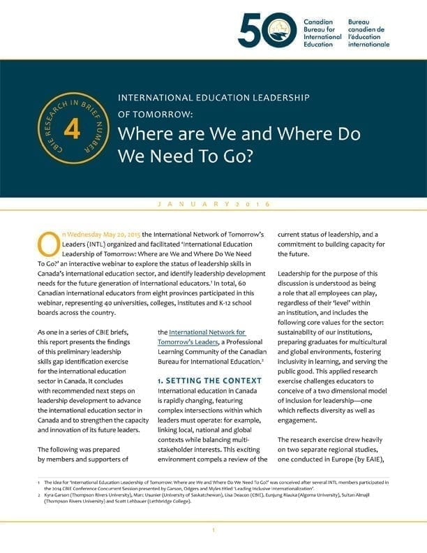 International Education Leadership of Tomorrow: Where are We and Where Do We Need To Go?