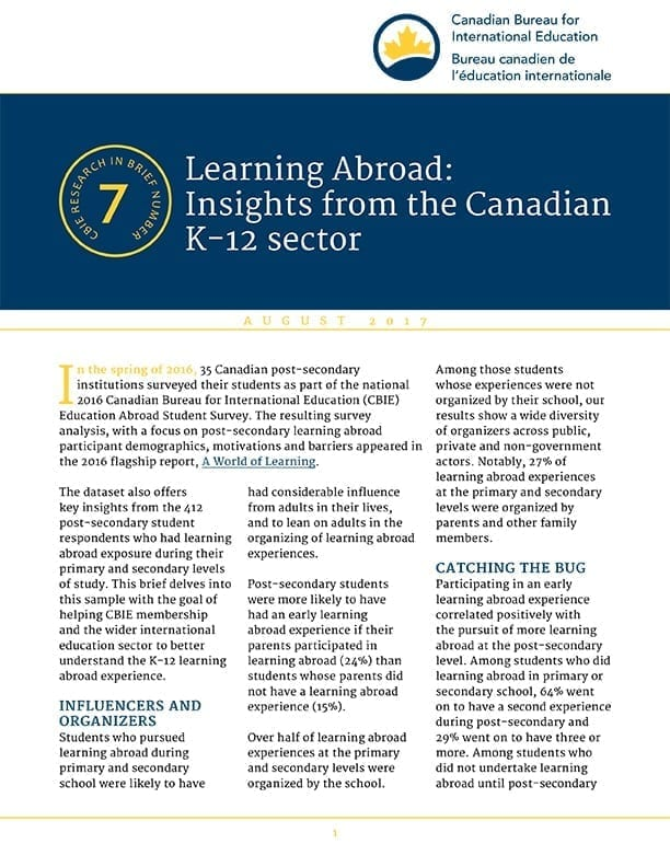 Learning Abroad: Insights from the Canadian K-12 sector
