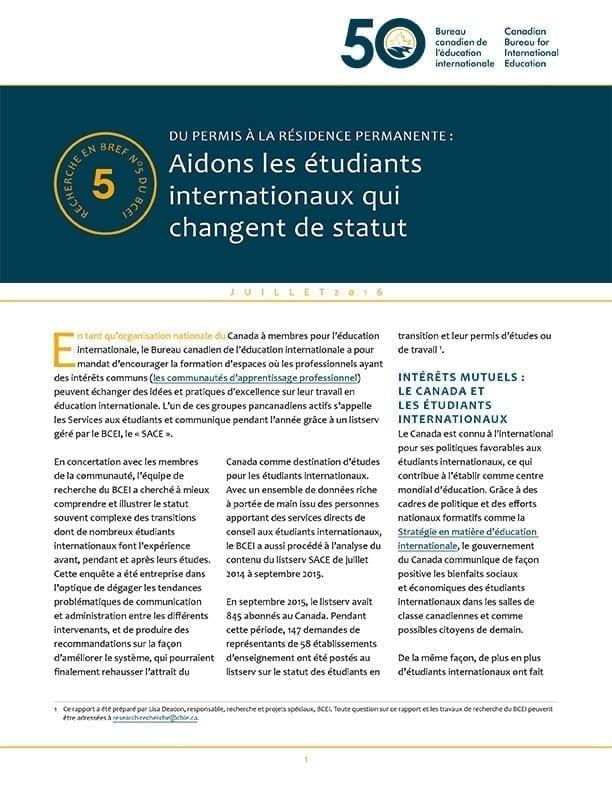 DU PERMIS À LA RÉSIDENCE PERMANENTE : Aidons les étudiants internationaux qui changent de statut
