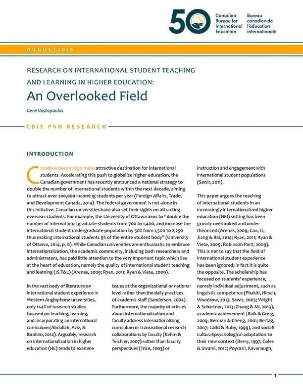 Research on International Student Teaching and Learning in Higher Education: An Overlooked Field