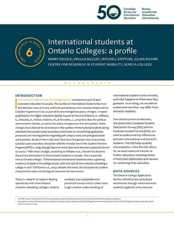 International students at Ontario Colleges: a profile