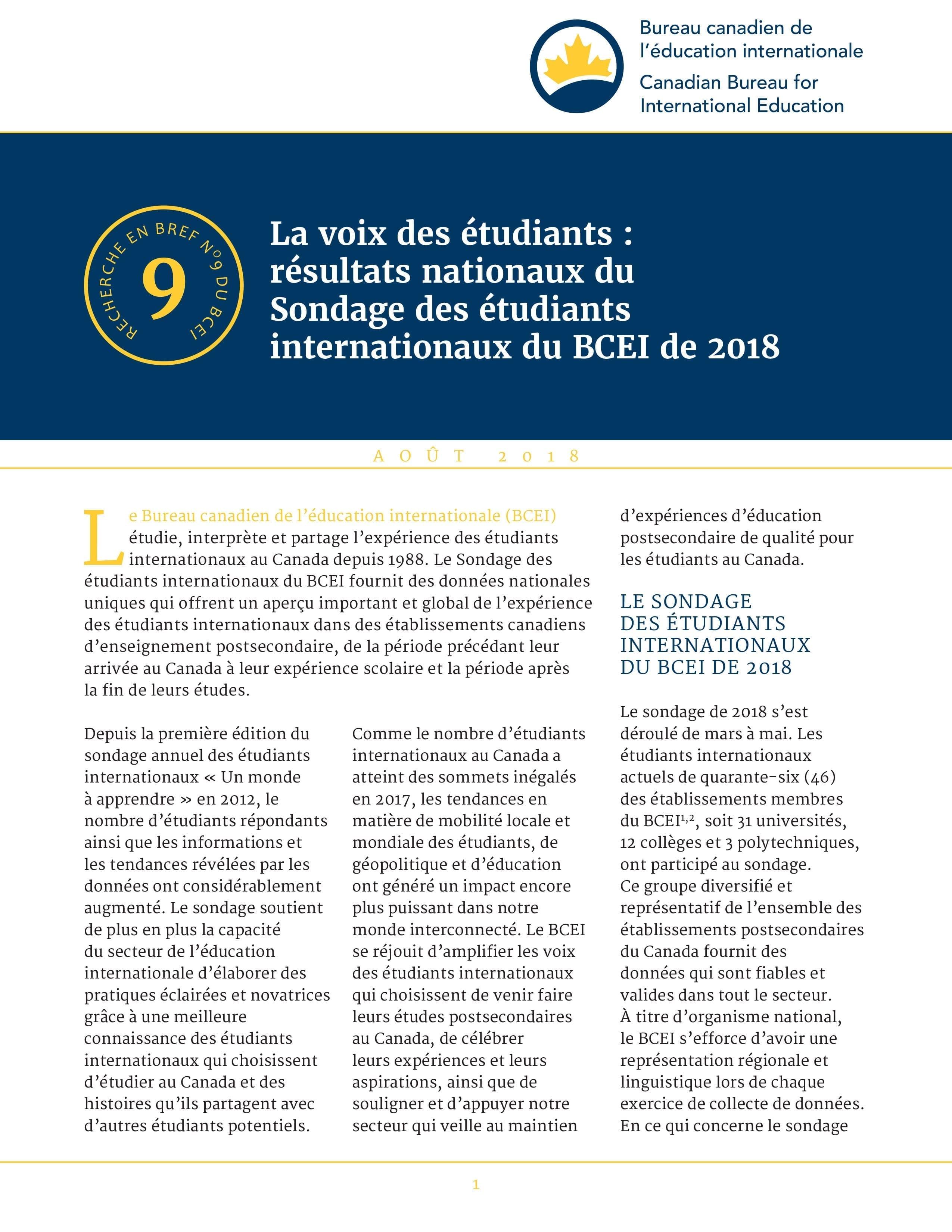La voix des étudiants : résultats nationaux du Sondage des étudiants internationaux du BCEI de 2018