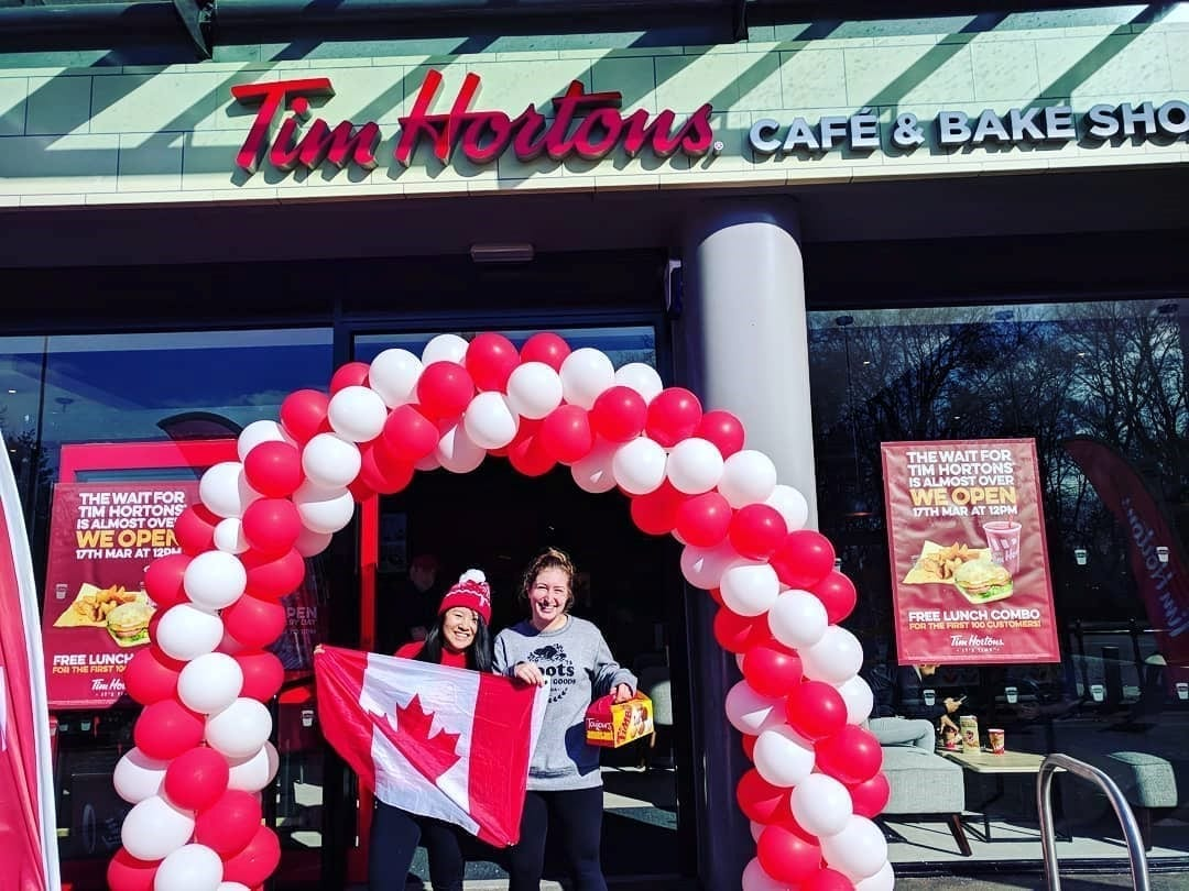 Canadian students at Tim Hortons in Manchester, England