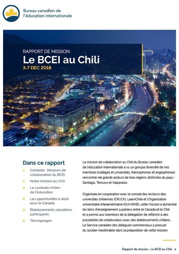 RAPPORT DE MISSION : Le BCEI au Chili