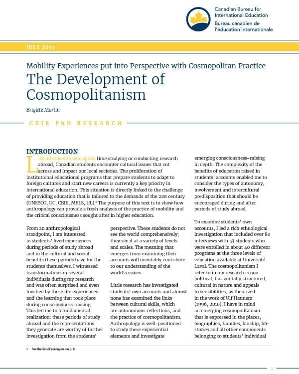 The Development of Cosmopolitanism