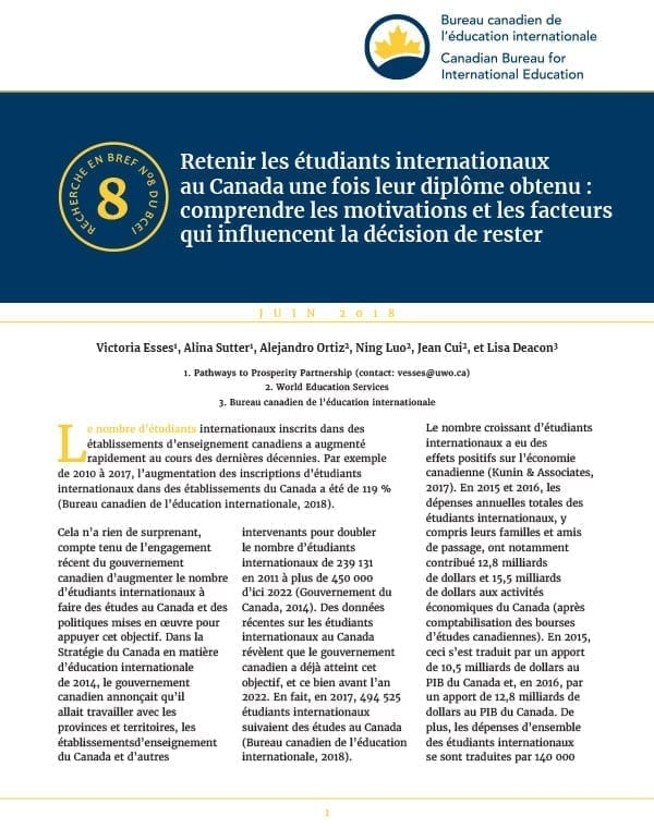 Retenir les étudiants internationaux au Canada une fois leur diplôme obtenu : comprendre les motivations et les facteurs qui influencent la décision de rester