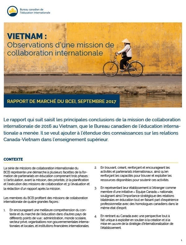 Vietnam : Observations d'une mission de collaboration internationale