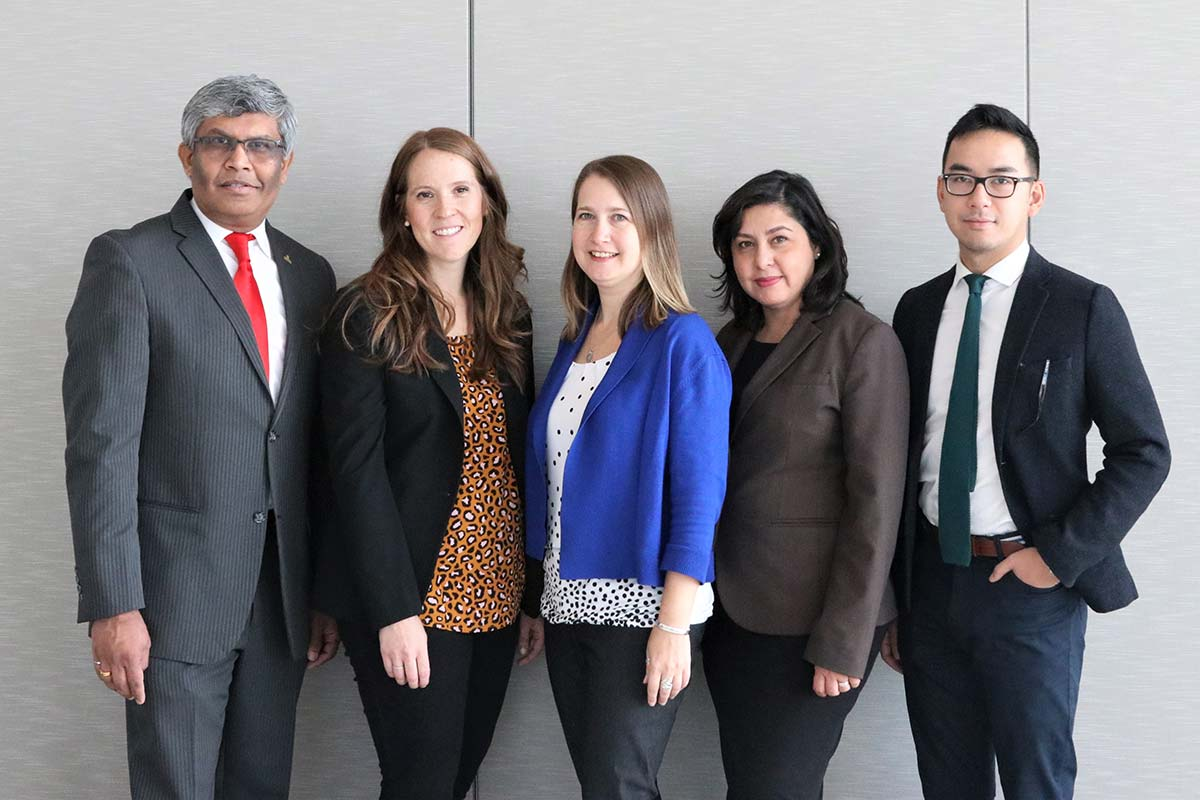 From left to right: Prof. Janaka Ruwanpura, Andrea Delgado Morrow, Colleen Packer, Savera Hayat-Dade, Scott Vu